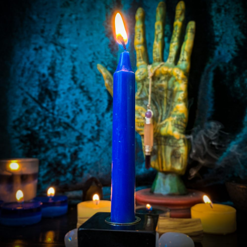 Blue chime candles, Australian witchcraft supplies, adelaide witchcraft store, free witchcraft spells, tarot readings, witchcraft blog, witchcraft shop, witchcraft supplies